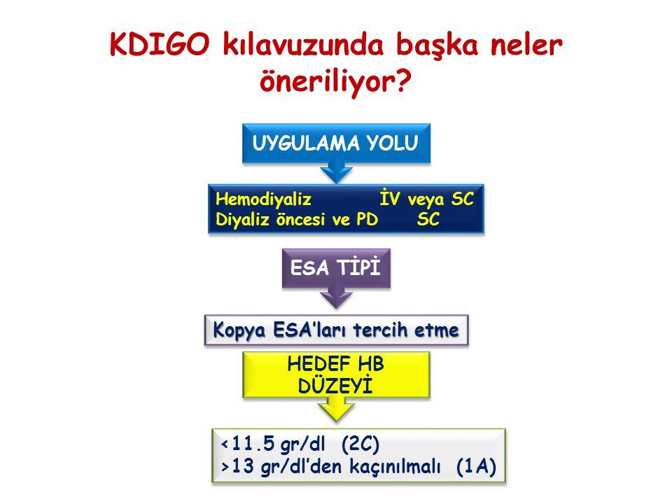 UYGULAMA YOLU HemodiyalizİV veya SC Diyaliz öncesi ve PD SC HemodiyalizİV veya SC Diyaliz öncesi ve PD SC ESA TİPİ Kopya ESA'ları tercih etme HEDEF HB DÜZEYİ <11.5 gr/dl (2C) >13 gr/dl'den kaçınılmalı (1A) <11.5 gr/dl (2C) >13 gr/dl'den kaçınılmalı (1A) KDIGO kılavuzunda başka neler öneriliyor?
