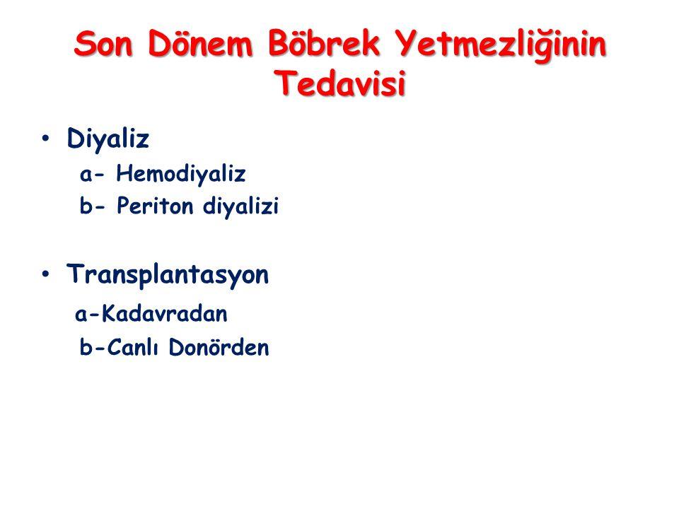 Son Dönem Böbrek Yetmezliğinin Tedavisi • Diyaliz a- Hemodiyaliz b- Periton diyalizi • Transplantasyon a-Kadavradan b-Canlı Donörden