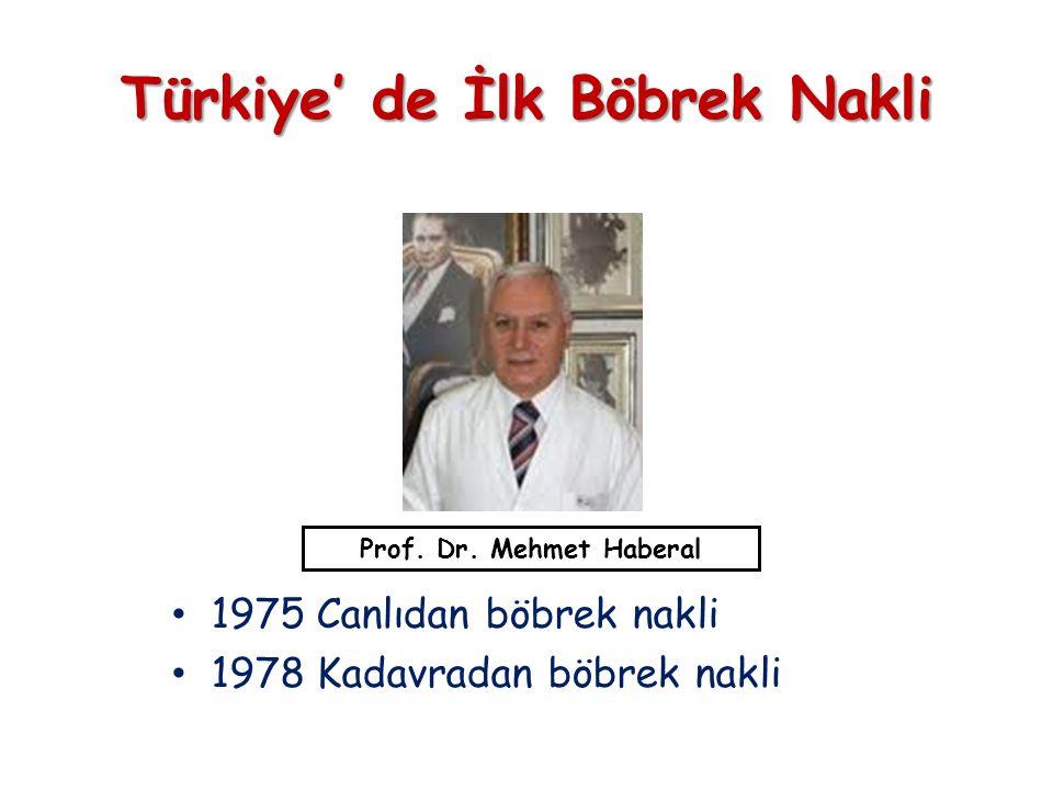 • 1975 Canlıdan böbrek nakli • 1978 Kadavradan böbrek nakli Türkiye' de İlk Böbrek Nakli Prof.