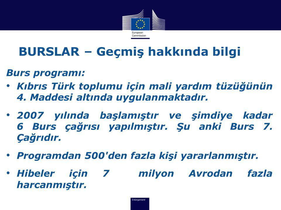 BURSLAR – Geçmiş hakkında bilgi Burs programı: • Kıbrıs Türk toplumu için mali yardım tüzüğünün 4.