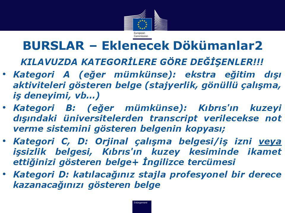 BURSLAR – Eklenecek Dökümanlar2 KILAVUZDA KATEGORİLERE GÖRE DEĞİŞENLER!!.