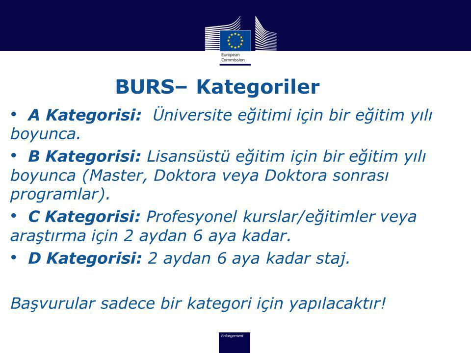 BURS– Kategoriler • A Kategorisi: Üniversite eğitimi için bir eğitim yılı boyunca.