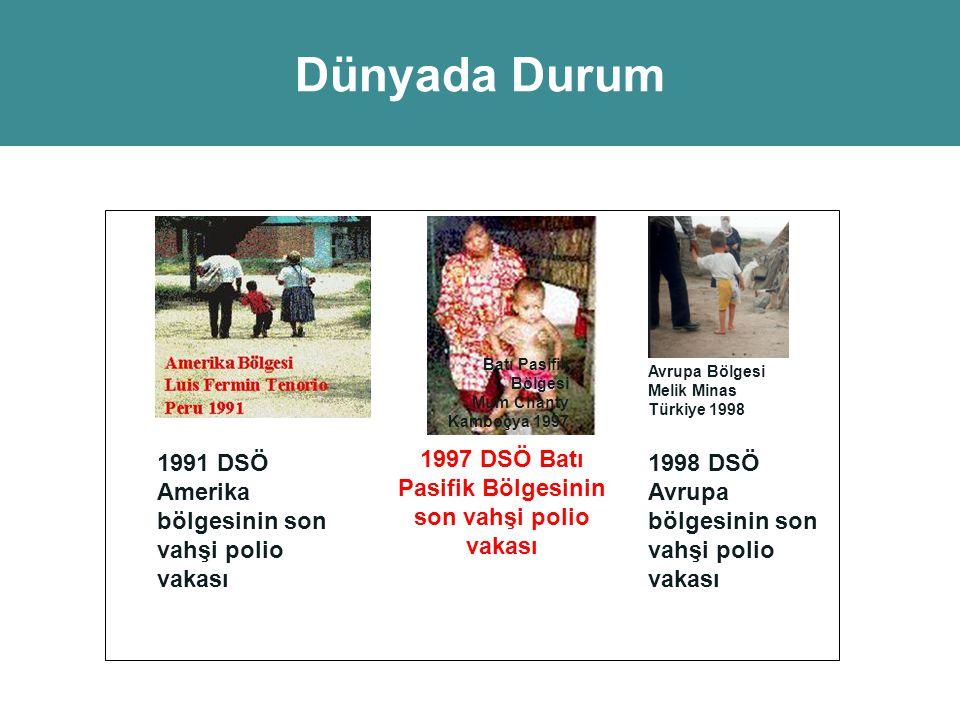 1991 DSÖ Amerika bölgesinin son vahşi polio vakası Batı Pasifik Bölgesi Mum Chanty Kamboçya 1997 1997 DSÖ Batı Pasifik Bölgesinin son vahşi polio vaka