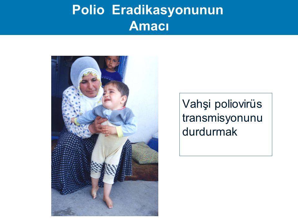 Polio Eradikasyonu Stratejileri  Rutin aşılama çalışmaları  Destek aşılama çalışmaları  Ulusal aşı günleri  Mop-up aşılama çalışmaları  AFP ve vahşi poliovirus sürveyansı