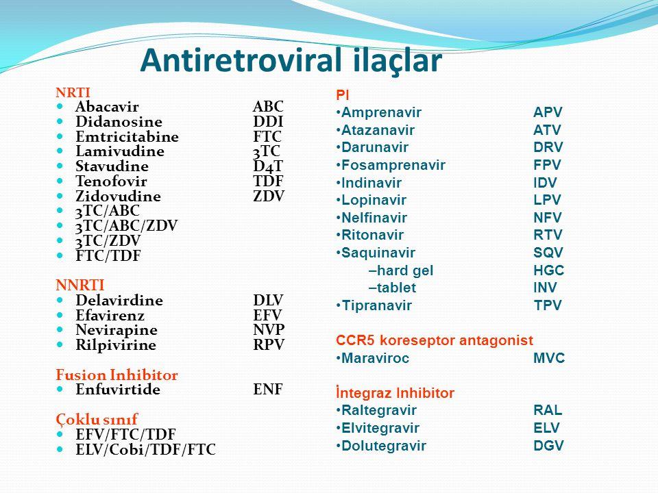 Antiretroviral ilaçlar NRTI  AbacavirABC  Didanosine DDI  EmtricitabineFTC  Lamivudine3TC  StavudineD4T  TenofovirTDF  ZidovudineZDV  3TC/ABC