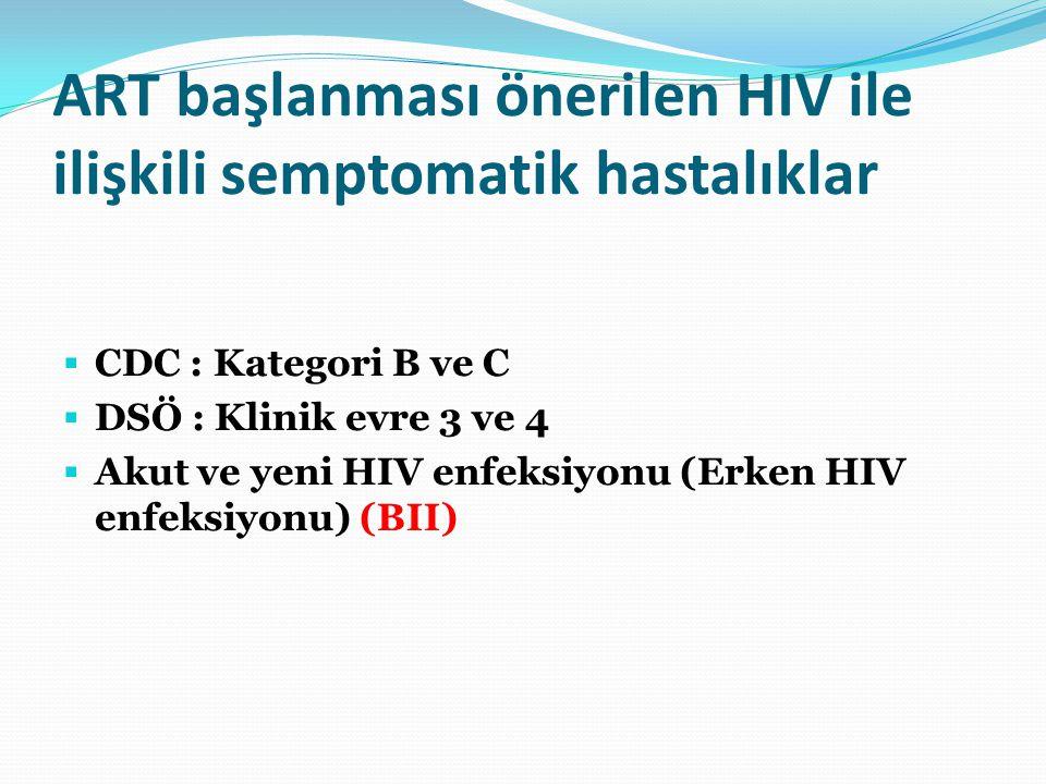 ART başlanması önerilen HIV ile ilişkili semptomatik hastalıklar  CDC : Kategori B ve C  DSÖ : Klinik evre 3 ve 4  Akut ve yeni HIV enfeksiyonu (Er