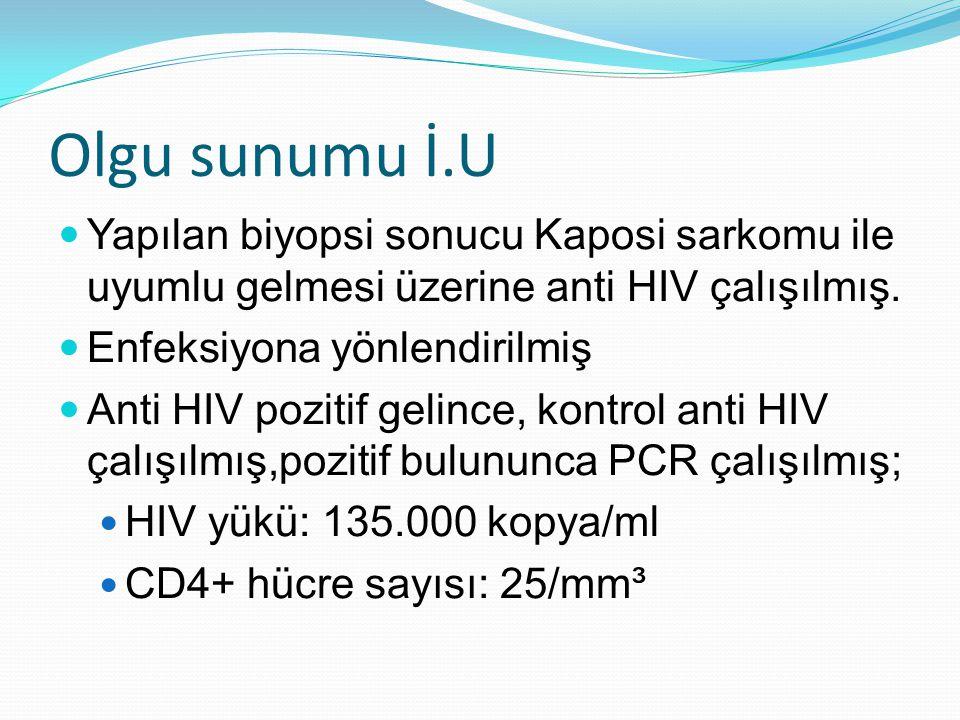Olgu sunumu İ.U  Yapılan biyopsi sonucu Kaposi sarkomu ile uyumlu gelmesi üzerine anti HIV çalışılmış.  Enfeksiyona yönlendirilmiş  Anti HIV poziti