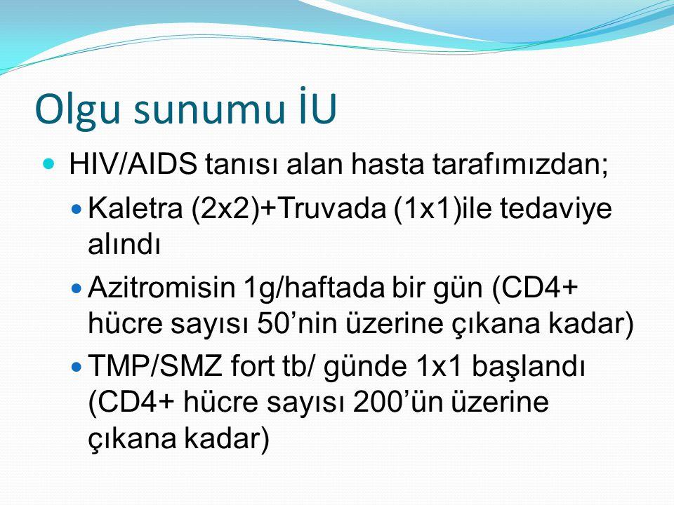 Olgu sunumu İU  HIV/AIDS tanısı alan hasta tarafımızdan;  Kaletra (2x2)+Truvada (1x1)ile tedaviye alındı  Azitromisin 1g/haftada bir gün (CD4+ hücr