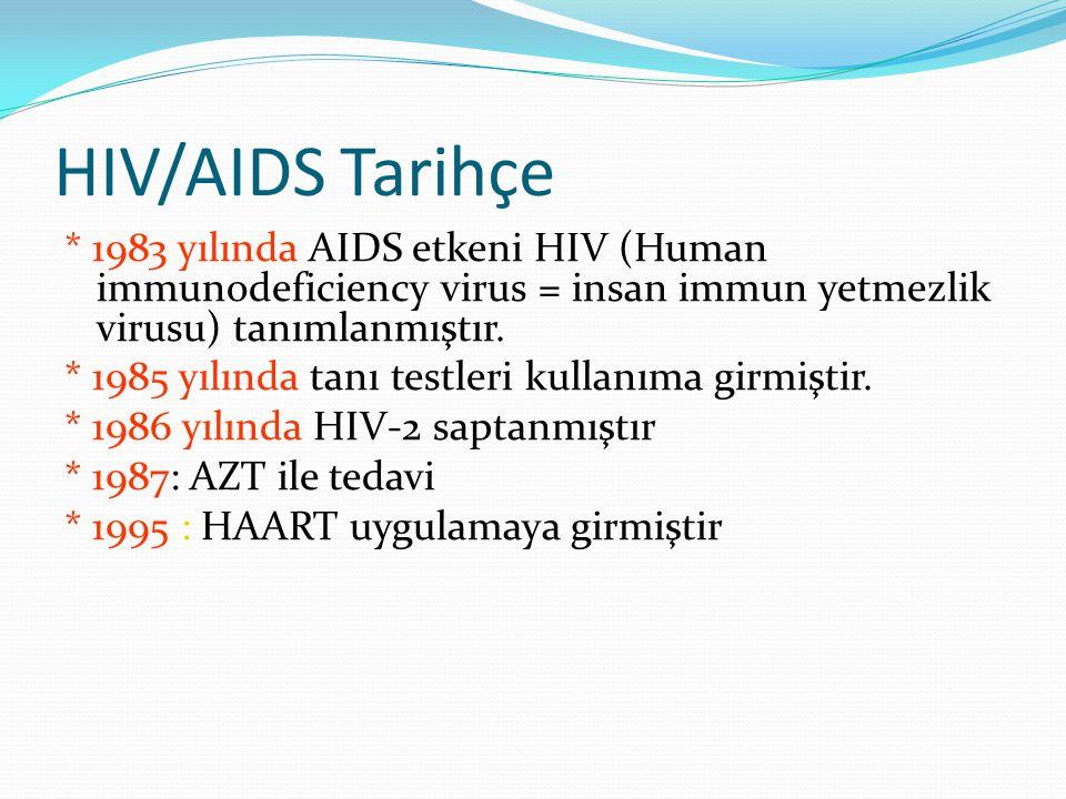 HIV/AIDS Tarihçe * 1983 yılında AIDS etkeni HIV (Human immunodeficiency virus = insan immun yetmezlik virusu) tanımlanmıştır. * 1985 yılında tanı test