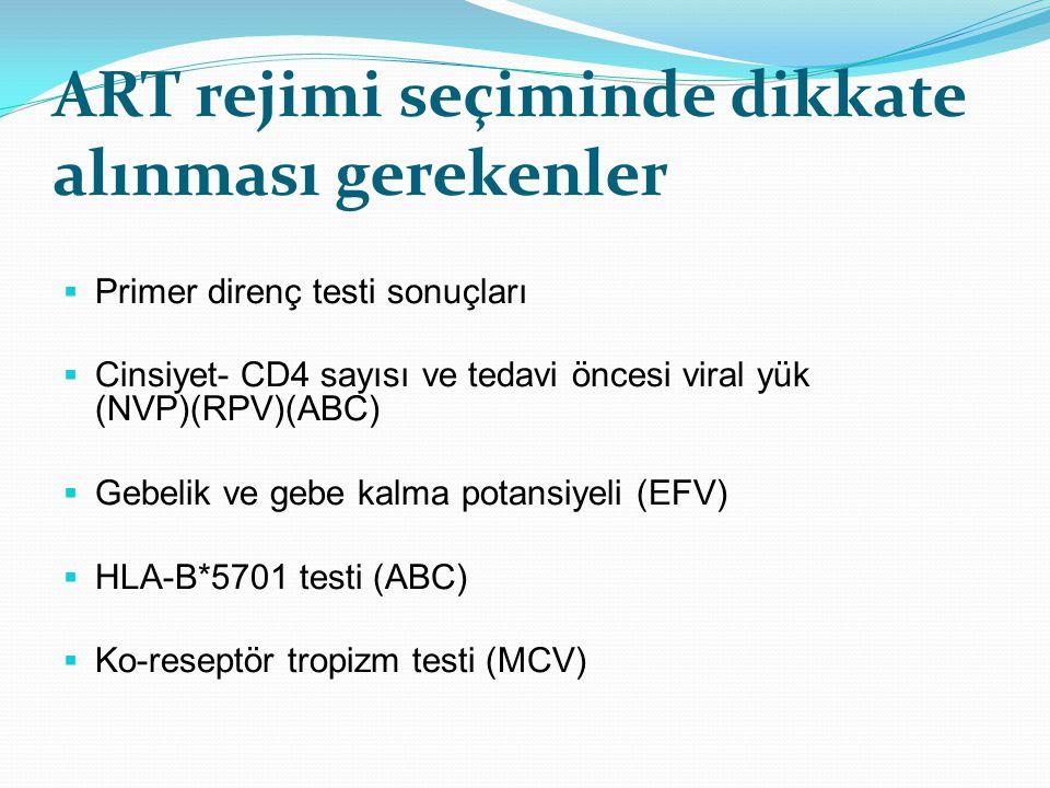 ART rejimi seçiminde dikkate alınması gerekenler  Primer direnç testi sonuçları  Cinsiyet- CD4 sayısı ve tedavi öncesi viral yük (NVP)(RPV)(ABC)  G