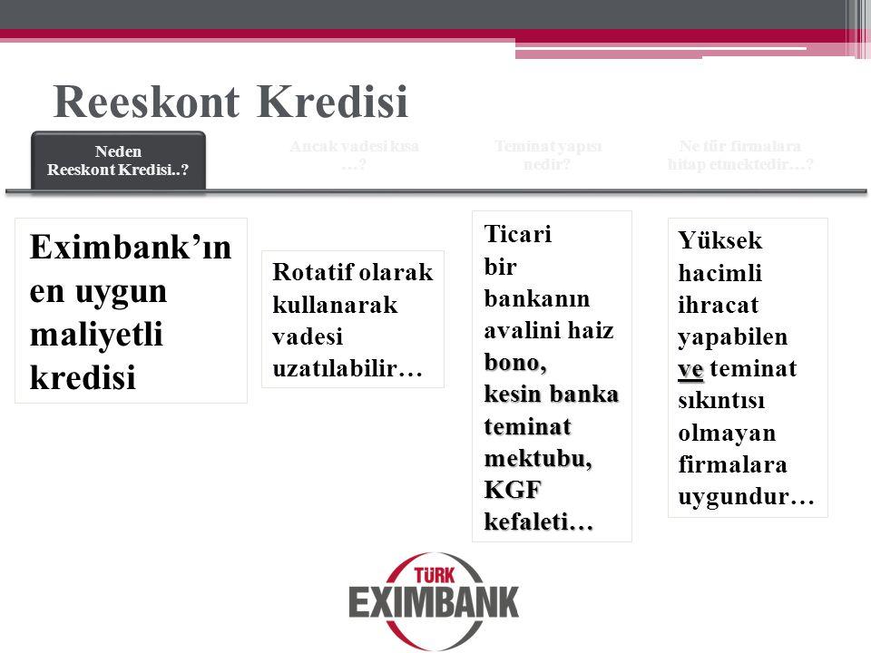Neden Reeskont Kredisi..? Ancak vadesi kısa …? Teminat yapısı nedir? Ne tür firmalara hitap etmektedir…? Eximbank'ın en uygun maliyetli kredisi Rotati
