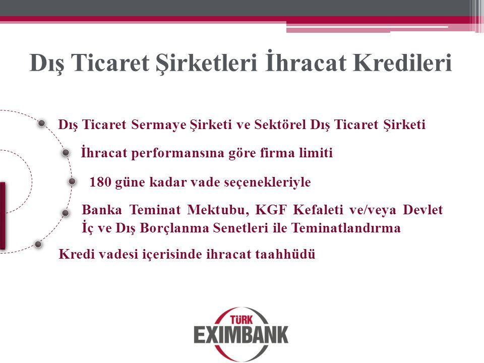 Dış Ticaret Sermaye Şirketi ve Sektörel Dış Ticaret Şirketi İhracat performansına göre firma limiti Banka Teminat Mektubu, KGF Kefaleti ve/veya Devlet