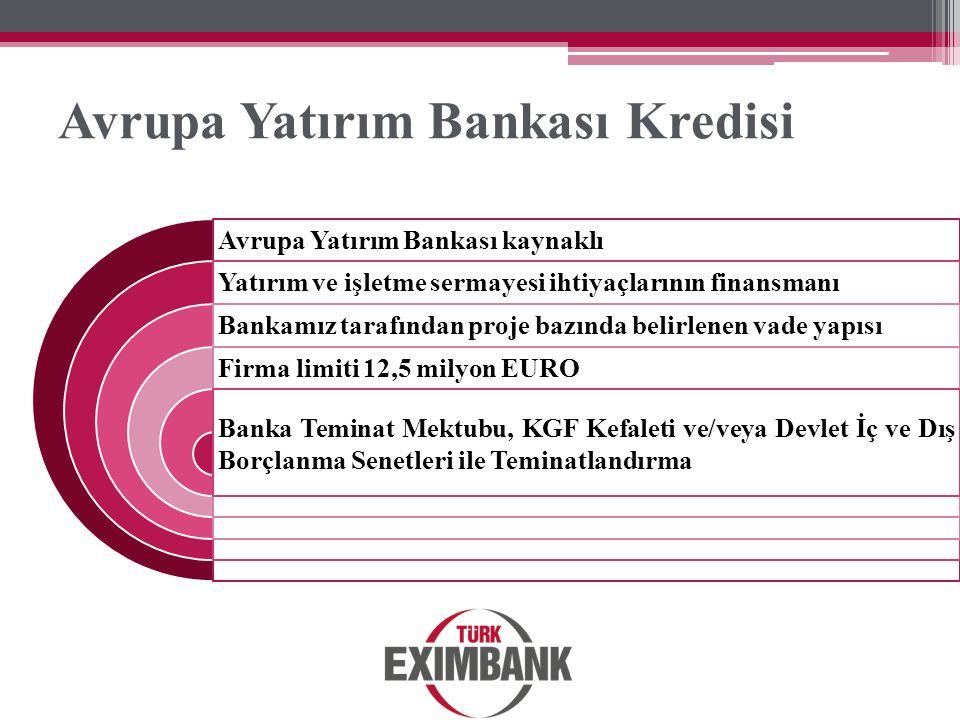 Avrupa Yatırım Bankası Kredisi Avrupa Yatırım Bankası kaynaklı Yatırım ve işletme sermayesi ihtiyaçlarının finansmanı Bankamız tarafından proje bazınd
