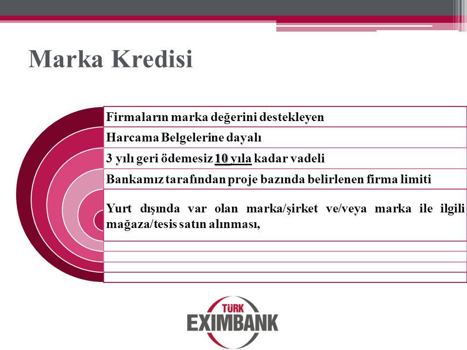 Marka Kredisi Firmaların marka değerini destekleyen Harcama Belgelerine dayalı 10 3 yılı geri ödemesiz 10 yıla kadar vadeli Bankamız tarafından proje