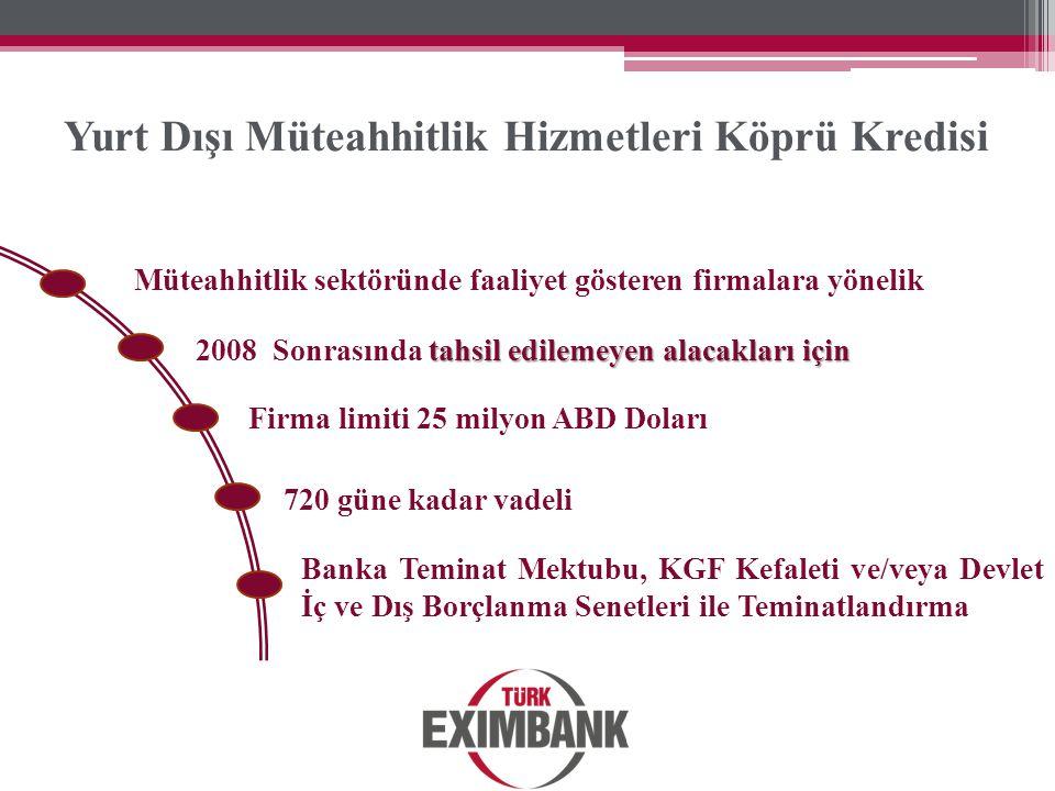 Yurt Dışı Müteahhitlik Hizmetleri Köprü Kredisi Müteahhitlik sektöründe faaliyet gösteren firmalara yönelik tahsil edilemeyen alacakları için 2008 Son