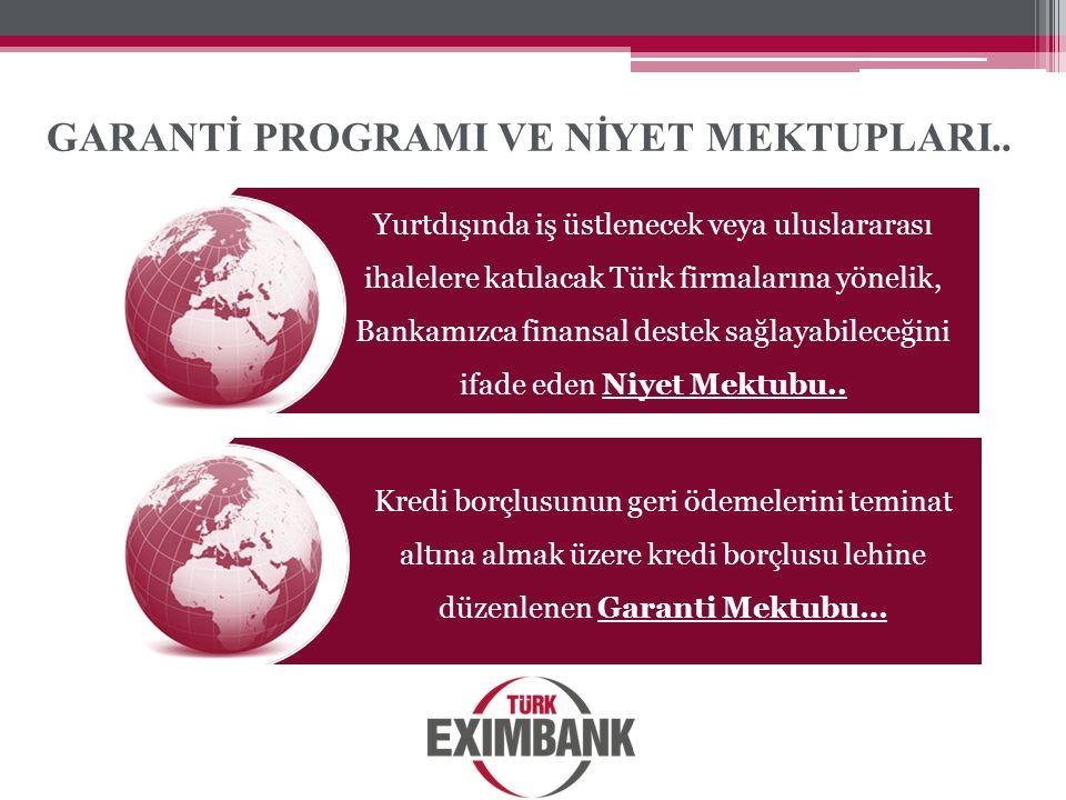 GARANTİ PROGRAMI VE NİYET MEKTUPLARI.. Yurtdışında iş üstlenecek veya uluslararası ihalelere katılacak Türk firmalarına yönelik, Bankamızca finansal d