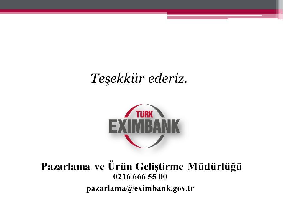 Teşekkür ederiz. Pazarlama ve Ürün Geliştirme Müdürlüğü 0216 666 55 00 pazarlama@eximbank.gov.tr