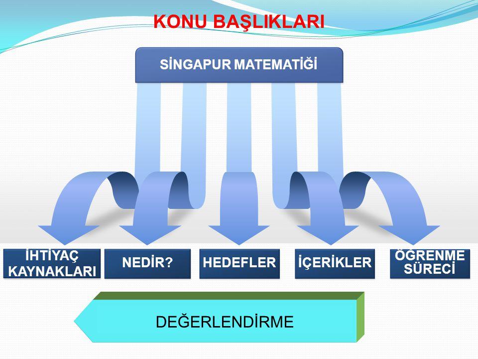 Ülke genelinde matematik dersindeki düşük performans göstergeleri Matematik dersine karşı olan tutum ve kaygı düzeyleri Diğer ülkelerin eğitim sistemlerindeki matematik başarı göstergeleri SİNGAPUR MATEMATİĞİNE OLAN İHTİYAÇ KAYNAKLARI