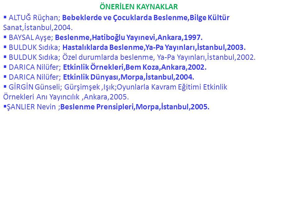 ÖNERİLEN KAYNAKLAR  ALTUĞ Rüçhan; Bebeklerde ve Çocuklarda Beslenme,Bilge Kültür Sanat,İstanbul,2004.  BAYSAL Ayşe; Beslenme,Hatiboğlu Yayınevi,Anka