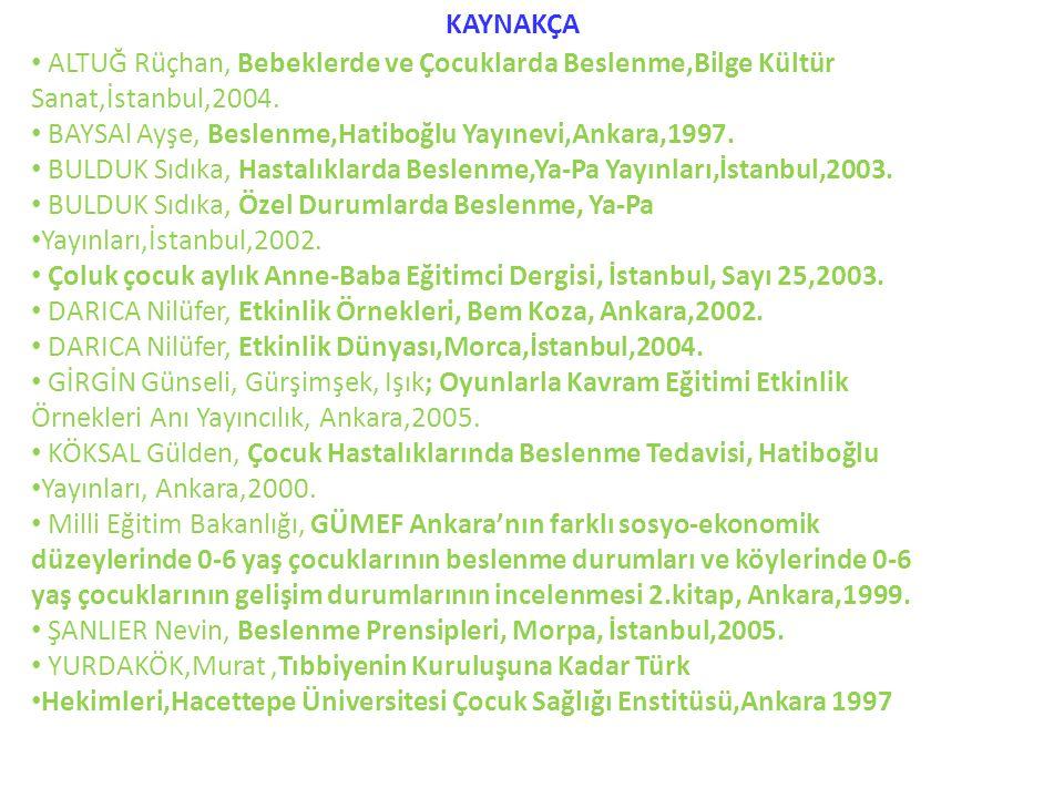 • ALTUĞ Rüçhan, Bebeklerde ve Çocuklarda Beslenme,Bilge Kültür Sanat,İstanbul,2004. • BAYSAl Ayşe, Beslenme,Hatiboğlu Yayınevi,Ankara,1997. • BULDUK S