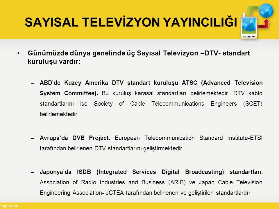 •Günümüzde dünya genelinde üç Sayısal Televizyon –DTV- standart kuruluşu vardır: –ABD'de Kuzey Amerika DTV standart kuruluşu ATSC (Advanced Television System Committee).