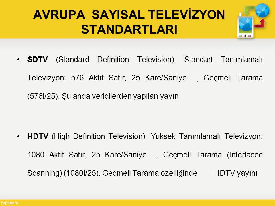 AVRUPA SAYISAL TELEVİZYON STANDARTLARI •SDTV (Standard Definition Television).