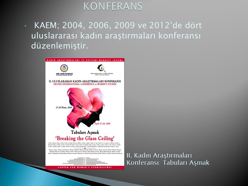 • KAEM; 2004, 2006, 2009 ve 2012'de dört uluslararası kadın araştırmaları konferansı düzenlemiştir. II. Kadın Araştırmaları Konferansı: Tabuları Aşmak