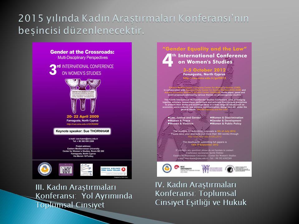 III. Kadın Araştırmaları Konferansı: Yol Ayrımında Toplumsal Cinsiyet IV. Kadın Araştırmaları Konferansı: Toplumsal Cinsiyet Eşitliği ve Hukuk