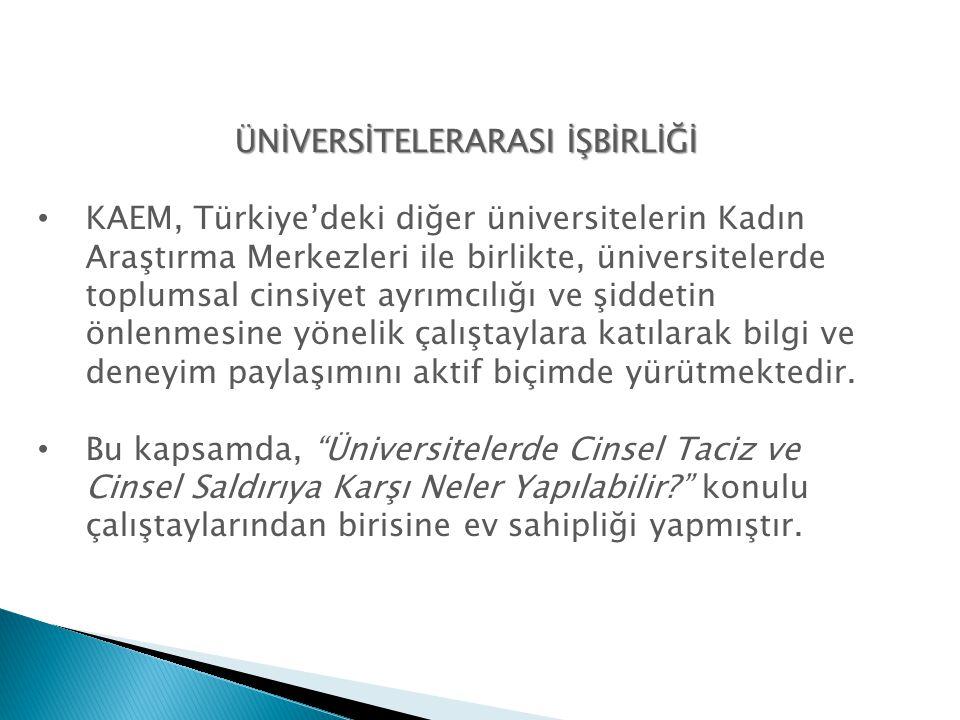 ÜNİVERSİTELERARASI İŞBİRLİĞİ • KAEM, Türkiye'deki diğer üniversitelerin Kadın Araştırma Merkezleri ile birlikte, üniversitelerde toplumsal cinsiyet ay
