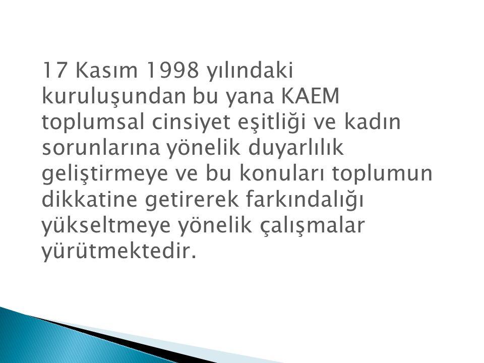 17 Kasım 1998 yılındaki kuruluşundan bu yana KAEM toplumsal cinsiyet eşitliği ve kadın sorunlarına yönelik duyarlılık geliştirmeye ve bu konuları topl