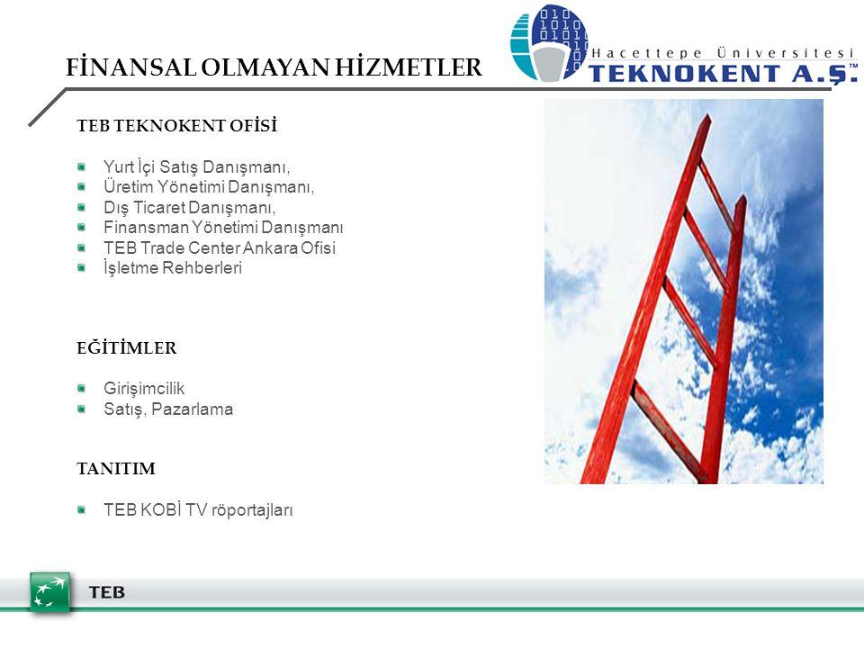 TEB TEKNOKENT OFİSİ Yurt İçi Satış Danışmanı, Üretim Yönetimi Danışmanı, Dış Ticaret Danışmanı, Finansman Yönetimi Danışmanı TEB Trade Center Ankara Ofisi İşletme Rehberleri EĞİTİMLER Girişimcilik Satış, Pazarlama TANITIM TEB KOBİ TV röportajları FİNANSAL OLMAYAN HİZMETLER