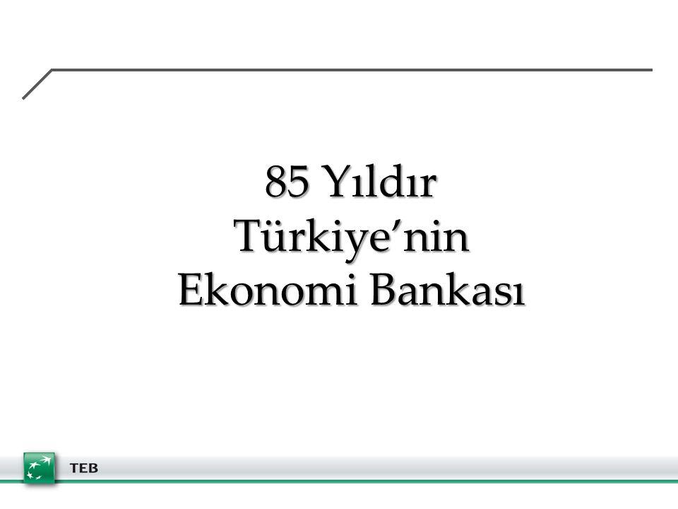 85 Yıldır Türkiye'nin Ekonomi Bankası