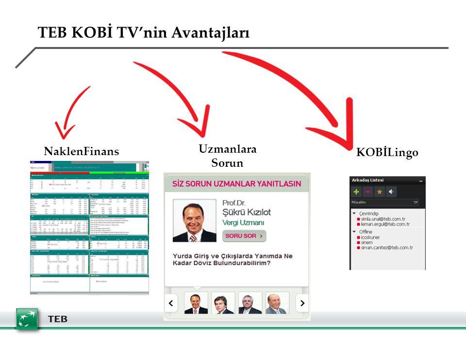 NaklenFinans Uzmanlara Sorun KOBİLingo TEB KOBİ TV'nin Avantajları
