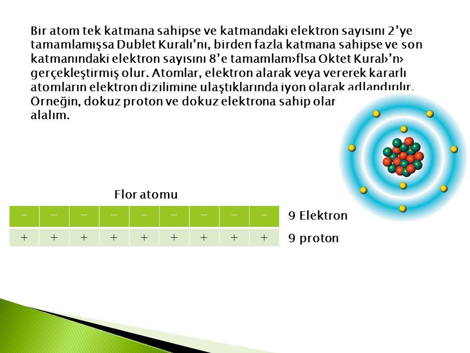 Bir atom tek katmana sahipse ve katmandaki elektron sayısını 2'ye tamamlamışsa Dublet Kuralı'nı, birden fazla katmana sahipse ve son katmanındaki elek