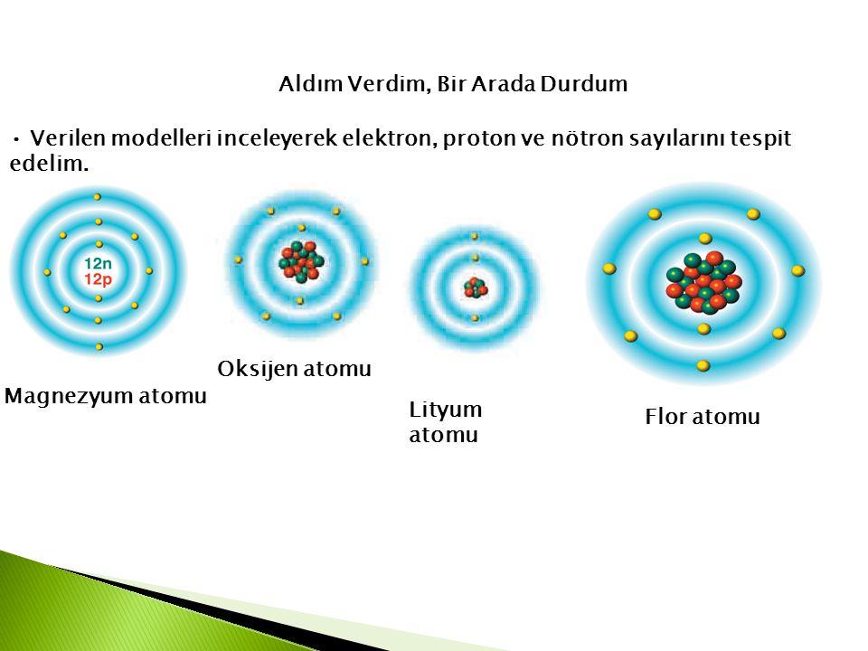 Aldım Verdim, Bir Arada Durdum • Verilen modelleri inceleyerek elektron, proton ve nötron sayılarını tespit edelim. Magnezyum atomu Oksijen atomu Lity