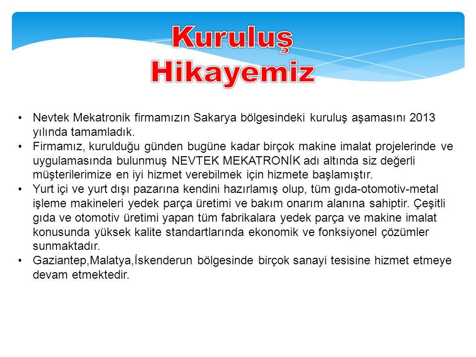 •Nevtek Mekatronik firmamızın Sakarya bölgesindeki kuruluş aşamasını 2013 yılında tamamladık.