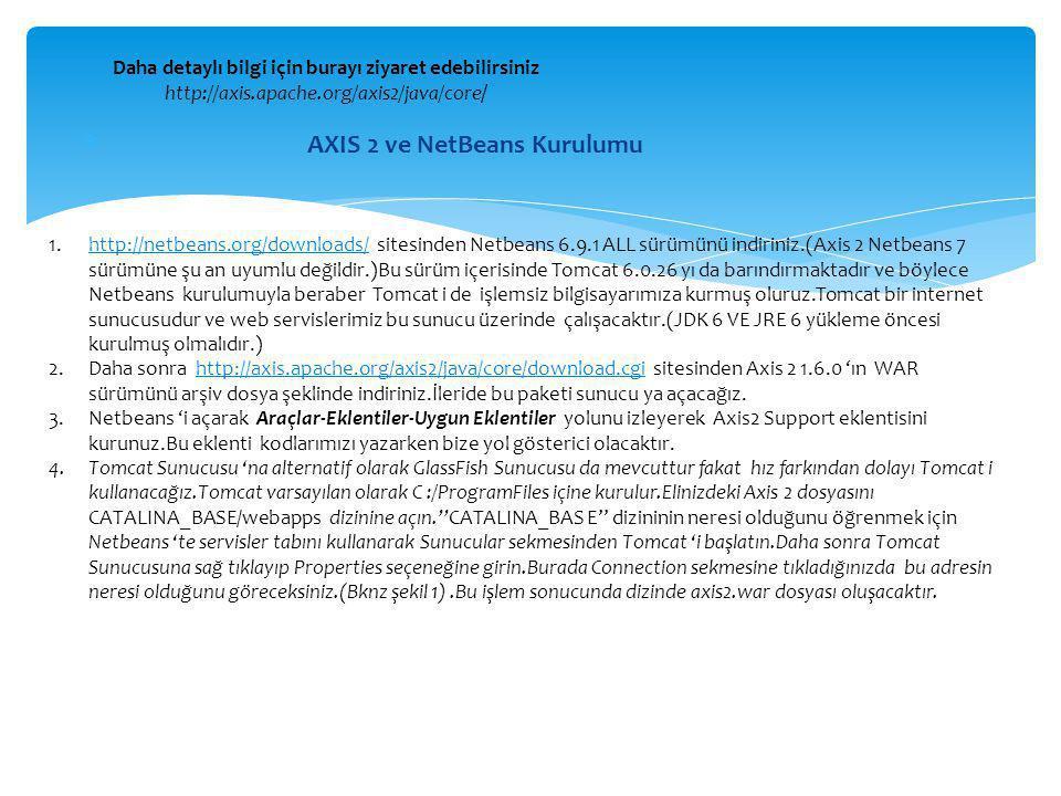  AXIS 2 ve NetBeans Kurulumu Daha detaylı bilgi için burayı ziyaret edebilirsiniz http://axis.apache.org/axis2/java/core/ 1.http://netbeans.org/downl