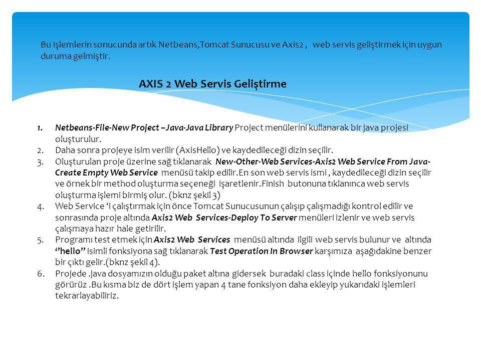 Bu işlemlerin sonucunda artık Netbeans,Tomcat Sunucusu ve Axis2, web servis geliştirmek için uygun duruma gelmiştir. AXIS 2 Web Servis Geliştirme 1.Ne