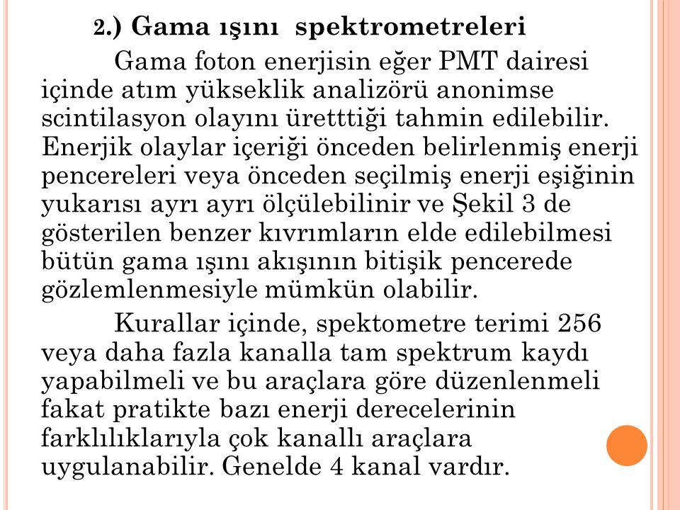 2.) Gama ışını spektrometreleri Gama foton enerjisin eğer PMT dairesi içinde atım yükseklik analizörü anonimse scintilasyon olayını üretttiği tahmin e