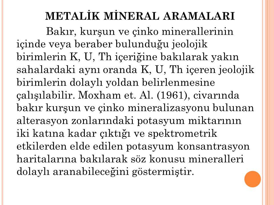 METALİK MİNERAL ARAMALARI Bakır, kurşun ve çinko minerallerinin içinde veya beraber bulunduğu jeolojik birimlerin K, U, Th içeriğine bakılarak yakın s