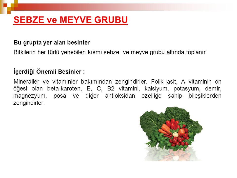 SEBZE ve MEYVE GRUBU Bu grupta yer alan besinler Bitkilerin her türlü yenebilen kısmı sebze ve meyve grubu altında toplanır. İçerdiği Önemli Besinler