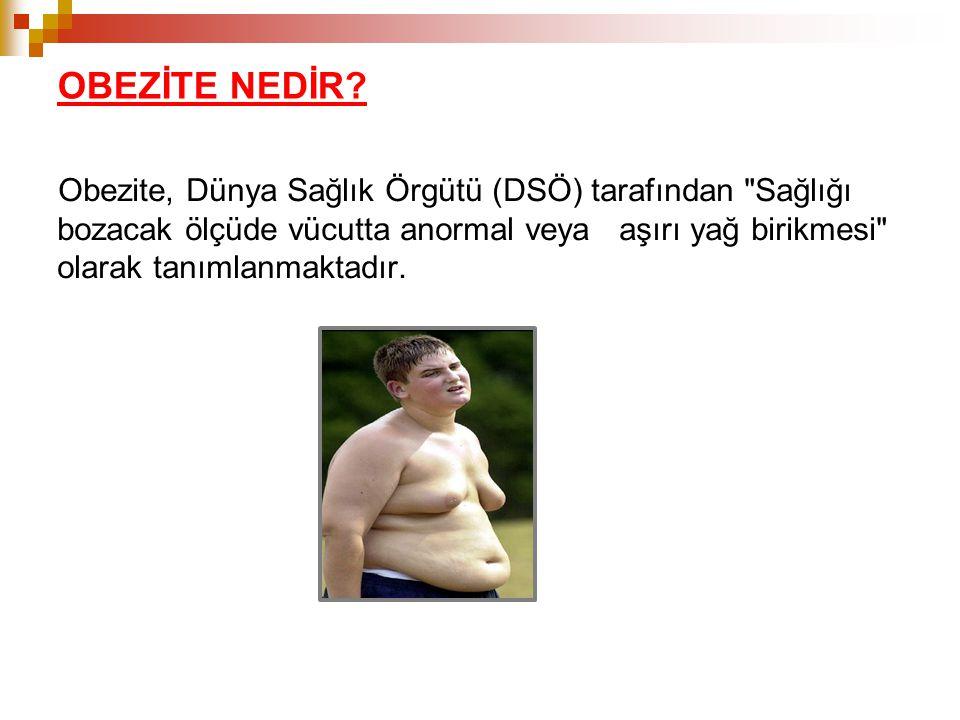 OBEZİTE NEDİR? Obezite, Dünya Sağlık Örgütü (DSÖ) tarafından