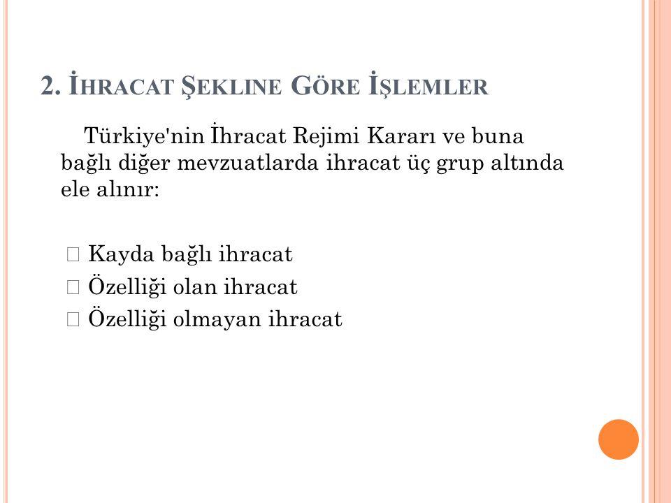 2. İ HRACAT Ş EKLINE G ÖRE İ ŞLEMLER Türkiye'nin İhracat Rejimi Kararı ve buna bağlı diğer mevzuatlarda ihracat üç grup altında ele alınır:  Kayda ba
