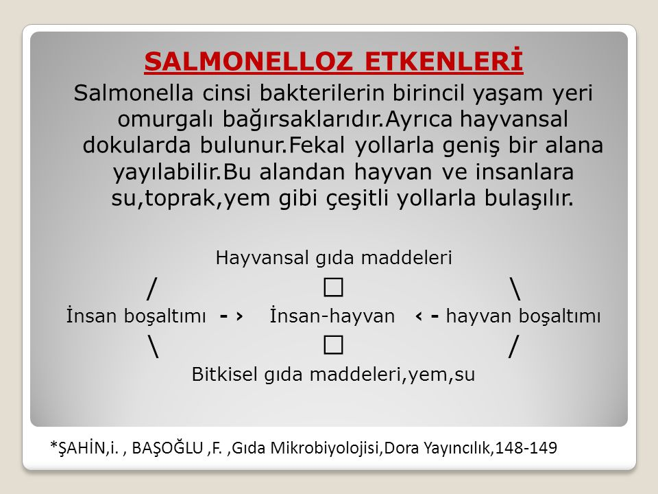 SALMONELLOZ ETKENLERİ Salmonella cinsi bakterilerin birincil yaşam yeri omurgalı bağırsaklarıdır.Ayrıca hayvansal dokularda bulunur.Fekal yollarla geniş bir alana yayılabilir.Bu alandan hayvan ve insanlara su,toprak,yem gibi çeşitli yollarla bulaşılır.