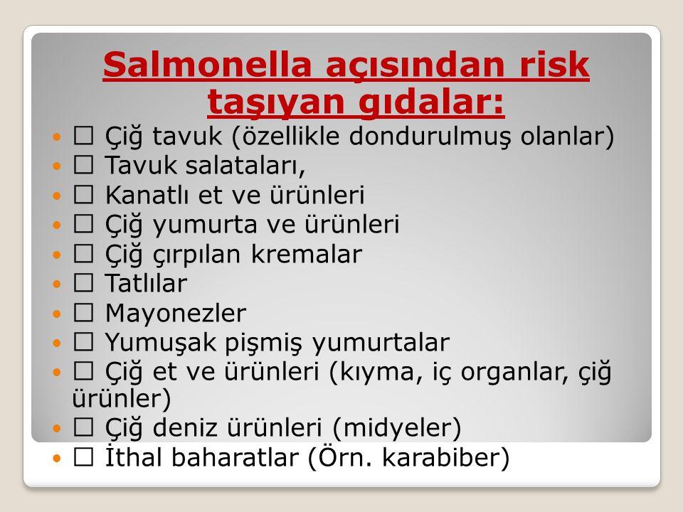 Salmonella açısından risk taşıyan gıdalar:   Çiğ tavuk (özellikle dondurulmuş olanlar)   Tavuk salataları,   Kanatlı et ve ürünleri   Çiğ yumurta ve ürünleri   Çiğ çırpılan kremalar   Tatlılar   Mayonezler   Yumuşak pişmiş yumurtalar   Çiğ et ve ürünleri (kıyma, iç organlar, çiğ ürünler)   Çiğ deniz ürünleri (midyeler)   İthal baharatlar (Örn.