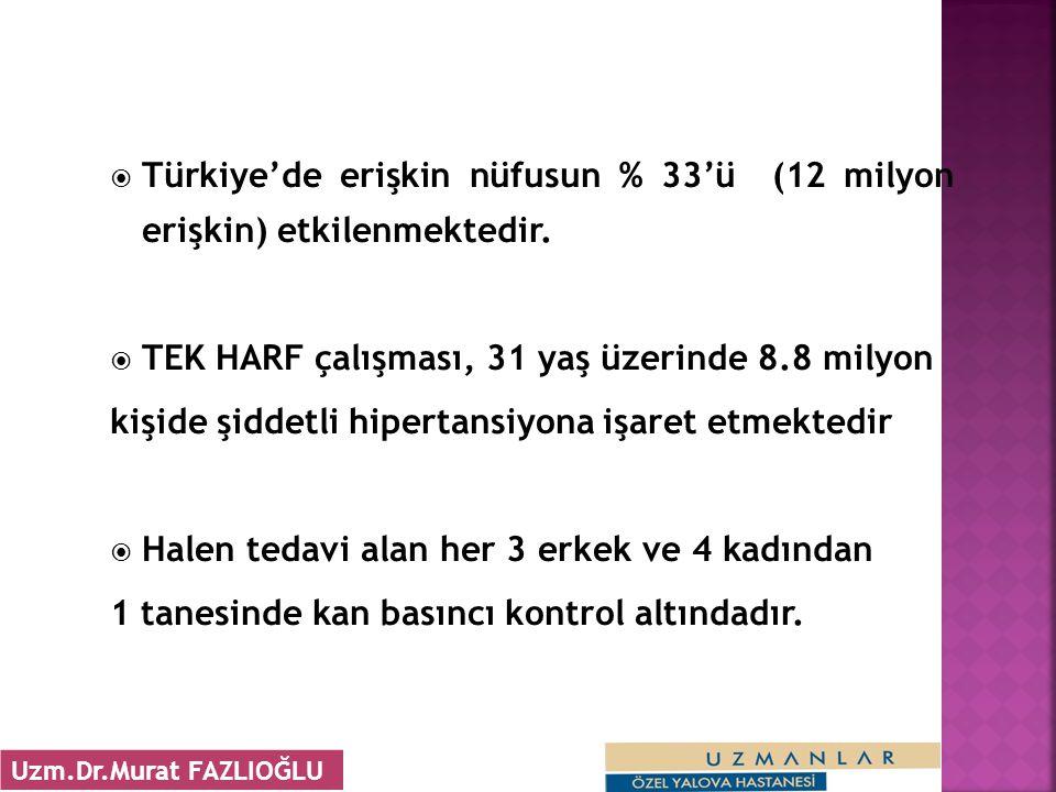  Türkiye'de erişkin nüfusun % 33'ü (12 milyon erişkin) etkilenmektedir.  TEK HARF çalışması, 31 yaş üzerinde 8.8 milyon kişide şiddetli hipertansiyo