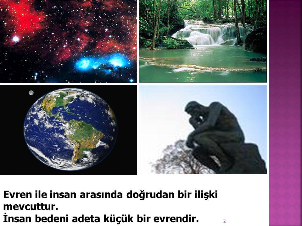 2 Evren ile insan arasında doğrudan bir ilişki mevcuttur. İnsan bedeni adeta küçük bir evrendir.
