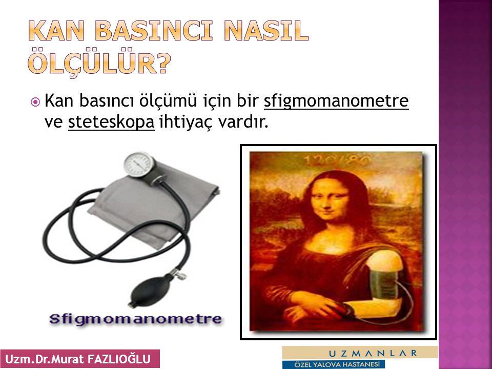  Kan basıncı ölçümü için bir sfigmomanometre ve steteskopa ihtiyaç vardır. 22 Uzm.Dr.Murat FAZLIOĞLU