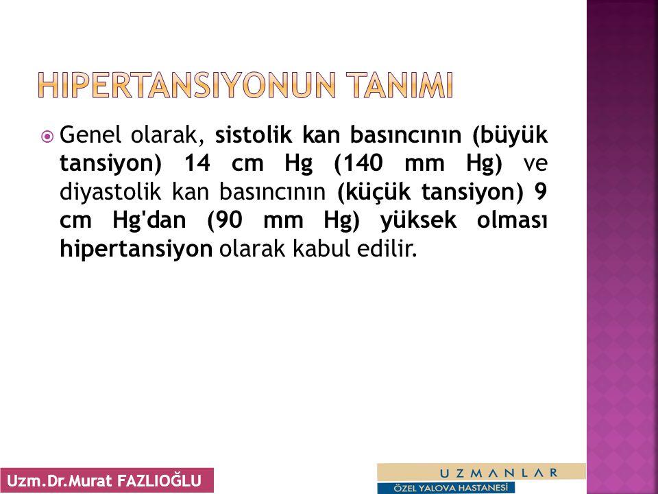  Genel olarak, sistolik kan basıncının (büyük tansiyon) 14 cm Hg (140 mm Hg) ve diyastolik kan basıncının (küçük tansiyon) 9 cm Hg dan (90 mm Hg) yüksek olması hipertansiyon olarak kabul edilir.
