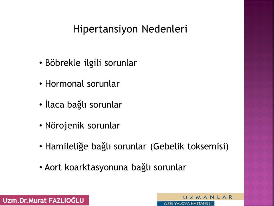 • Böbrekle ilgili sorunlar • Hormonal sorunlar • İlaca bağlı sorunlar • Nörojenik sorunlar • Hamileliğe bağlı sorunlar (Gebelik toksemisi) • Aort koarktasyonuna bağlı sorunlar Hipertansiyon Nedenleri 32 Uzm.Dr.Murat FAZLIOĞLU